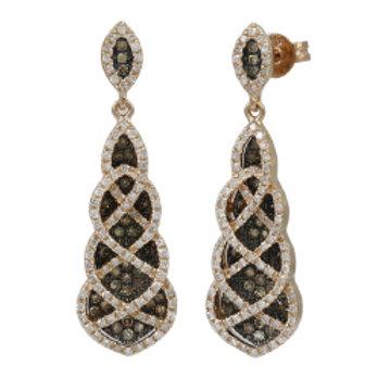 BROWN & WHITE DIAMOND DROP EARRINGS