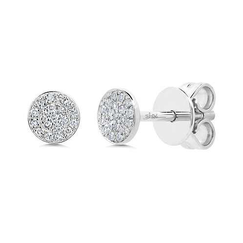 White Gold Diamond Pave Stud Earring