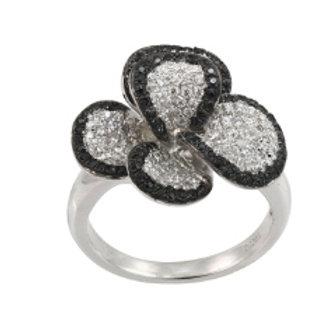 BLACK & WHITE DIAMOND FLOWER RING