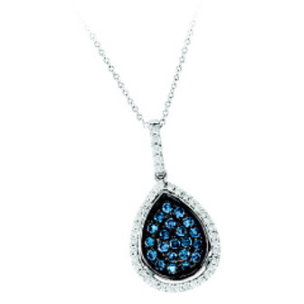 BLUE & WHITE DIAMOND PAVE PEAR SHAPED PENDANT