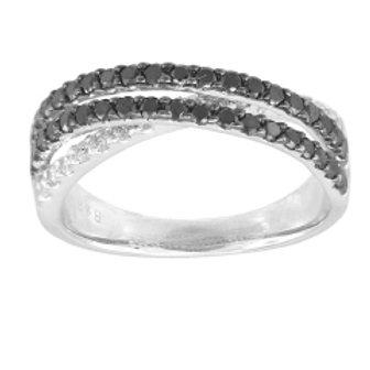 BLACK & WHITE DIAMOND BYPASS RING