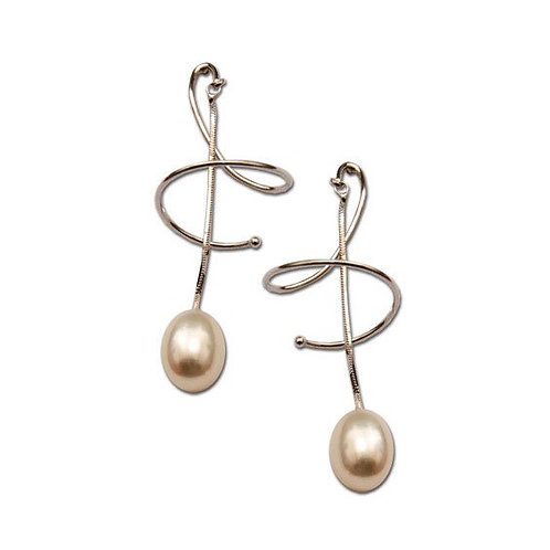 Corckscrew Earrings with White Pearls