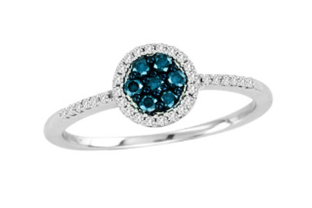 BLUE & WHITE DIAMOND ROUND CLUSTER RING