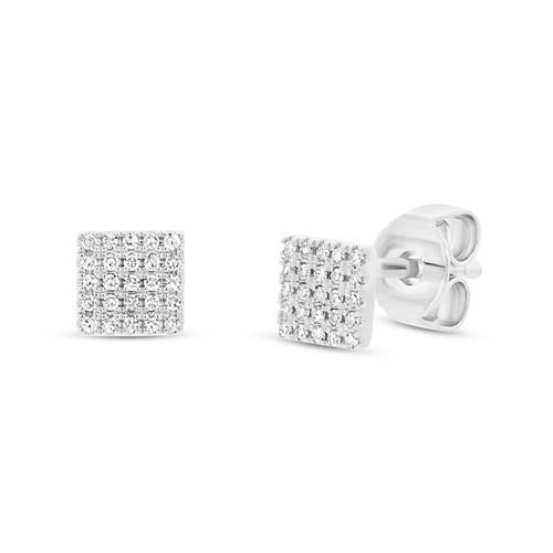 0 11ct 14k White Gold Diamond Pave Square Stud Earring