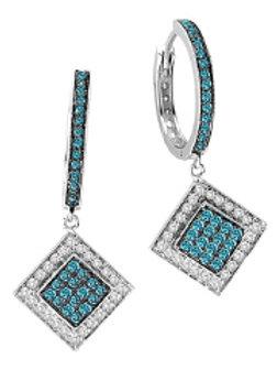 BLUE & WHITE DIAMOND SQUARE DROP EARRINGS