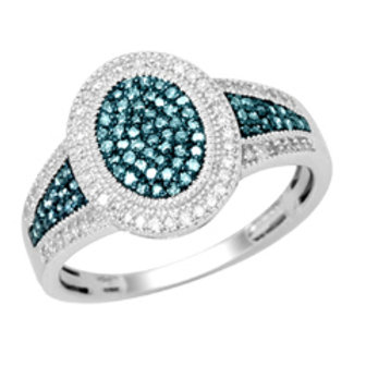 BLUE & WHITE DIAMOND PAVE OVAL RING