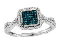BLUE & WHITE DIAMOND SQUARE PAVE RING