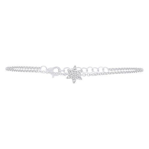 White Gold Diamond Star of David Bracelet