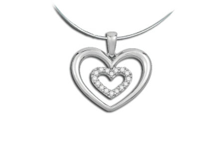 DIAMOND PAVE HEART IN HEART PENDANT