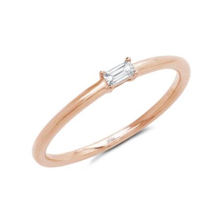 0.07ct 14k Rsoe Gold Diamond Baguette Ring