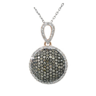BROWN & WHITE DIAMOND ROUND PAVE PENDANT