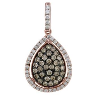 BROWN & WHITE DIAMOND PAVE PEAR SHAPED PENDANT
