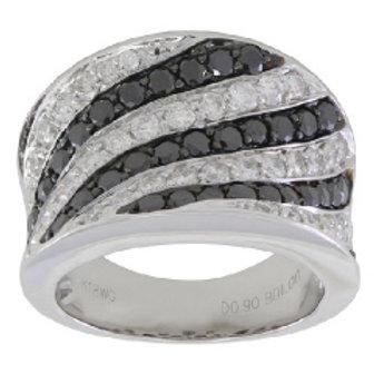 BLACK & WHITE DIAMOND WIDE PAVE BAND