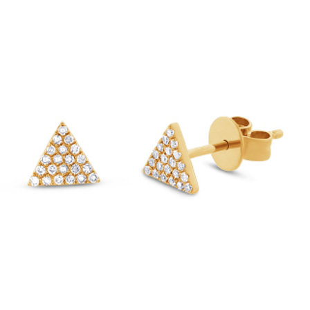 0.12ct 14k Yellow Gold Diamond Pave Triangle Stud Earring
