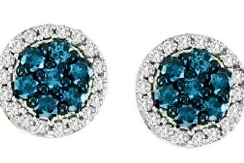 BLUE & WHITE DIAMOND CLUSTER EARRINGS