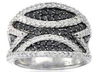 BLACK & WHITE DIAMOND WIDE BAND