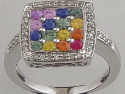 DIAMOND SQURE SHAPED RAINBOW SAPPHIRE