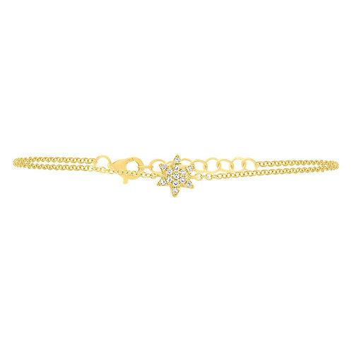 Yellow Gold Diamond Star of David Bracelet