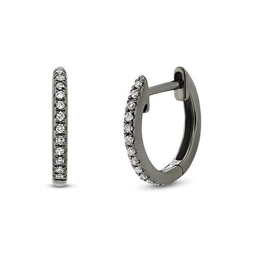 Black Rhodium Gold Diamond Huggie Earring