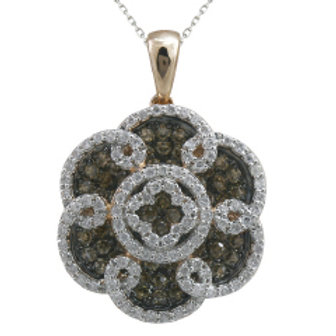 BROWN & WHITE DIAMOND FASHION PENDANT