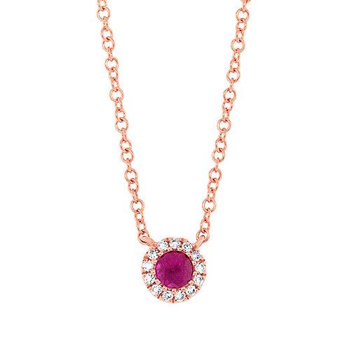 0.04ct Diamond & 0.14ct Ruby 14k Rose Gold Diamond Necklace