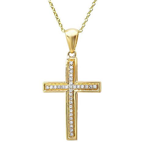 0.11ct 14k Yellow Gold Diamond Cross Necklace