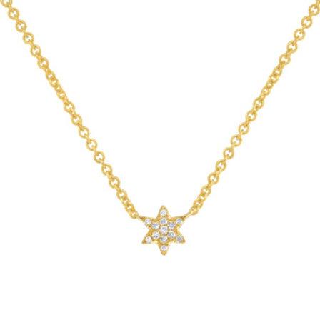 0.03ct 14k Yellow Gold Diamond Star of David Necklace