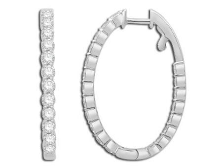 DIAMOND OVAL IN & OUT HOOP