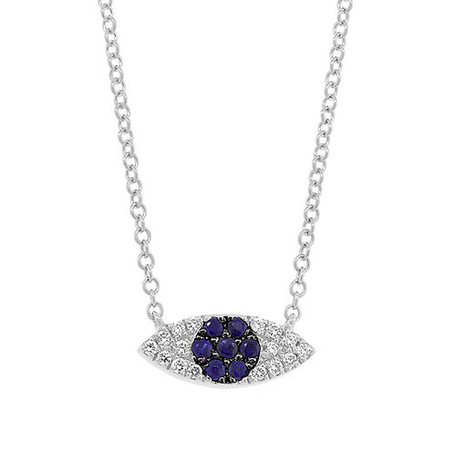 0.07ct Diamond & 0.11ct Blue Sapphire 14k White Gold Eye Necklace