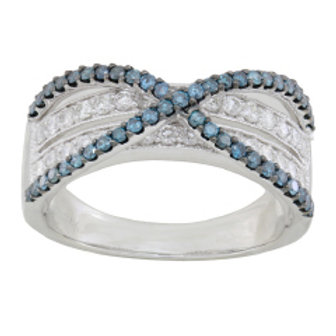 BLUE & WHITE DIAMOND BYPASS RING