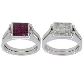 DIAMOND & RUBY CONVERTIBLE RING