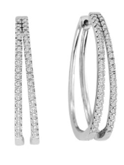 DIAMOND DOUBLE ROW OVAL HOOP
