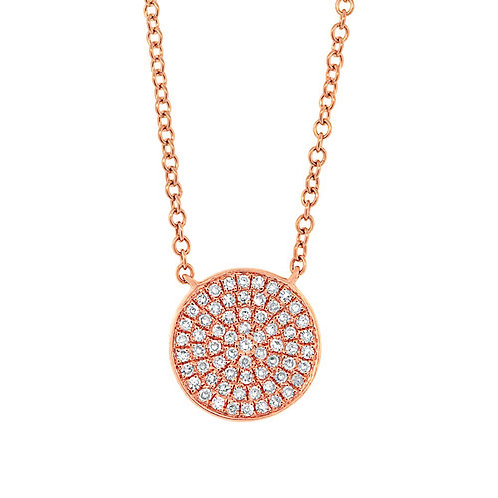 0.15ct 14k Rose Gold Diamond Pave Circle Necklace