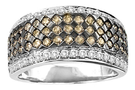 BROWN & WHITE DIAMOND PAVE RING