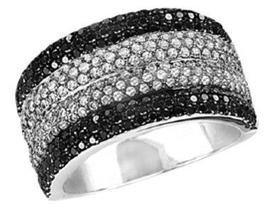 BLACK & WHITE DIAMOND PAVE 4 DOME RING