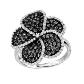 BLACK & WHITE DIAMOND SWIRL FLOWER RING