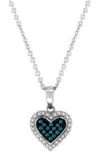 BLUE & WHITE DIAMOND HEART PENDANT
