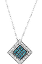 BLUE & WHITE DIAMOND SQUARE PENDANT