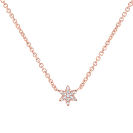 0.03ct 14k Rose Gold Diamond Star of David Necklace