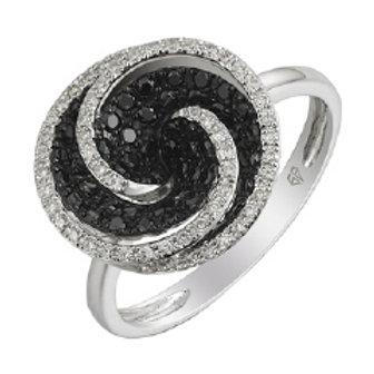 BLACK & WHITE DIAMOND ROUND SWIRL RING