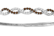 BROWN & WHITE DIAMOND SWIRL BANGLE