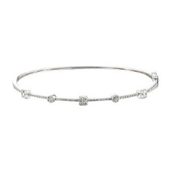 DIAMOND ROUND AND SQUARE CLUSTER BANGLE
