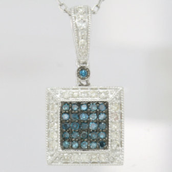 BLUE & WHITE DIAMOND SQUARE PAVE PENDANT