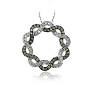 BROWN & WHITE DIAMOND SWIRL CIRCLE PENDANT