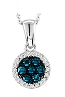 BLUE & WHITE DIAMOND CLUSTER PENDANT