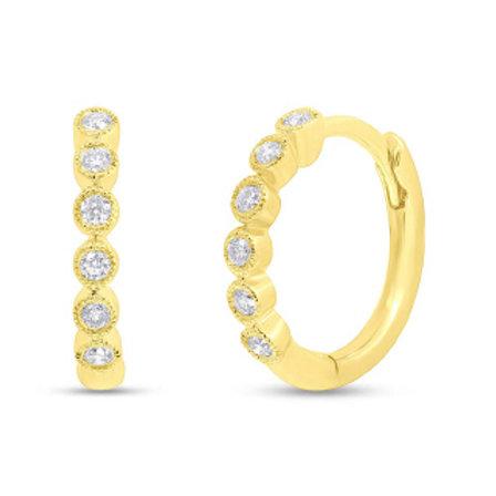 0.11ct 14k Yellow Gold Diamond Huggie Earring