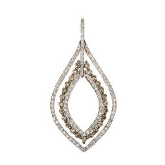 BROWN & WHITE DIAMOND PEAR DROP PENDANT