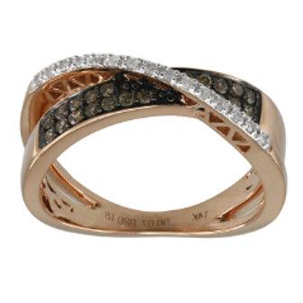 BROWN & WHITE DIAMOND CRISS CROSS RING