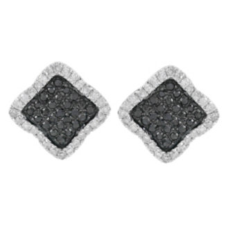BLACK & WHITE DIAMOND SQUARE EARRINGS