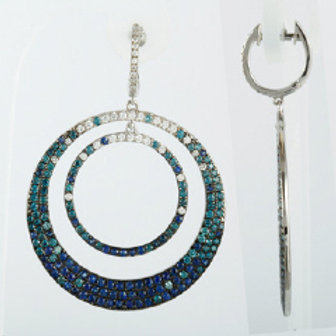 BLUE & WHITE DIAMOND DROP EARRINGS